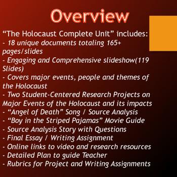 Holocaust - Unit (Projects, Source Analysis, Movie Guide, Webquest, etc.)