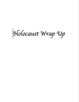 Holocaust Unit Wrap Up Activity
