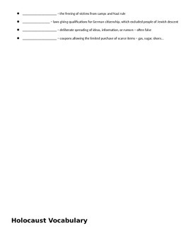 Holocaust Vocabulary Fill In The Blank Notes