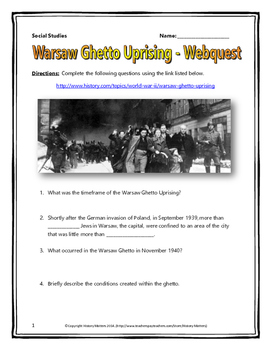 Holocaust - Warsaw Ghetto Uprising - Webquest with Key (Hi
