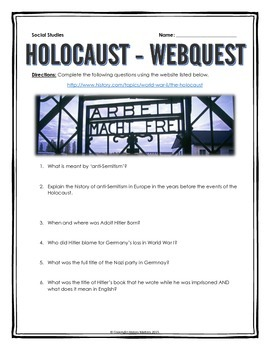 Holocaust - Webquest with Key by History Matters | TpT