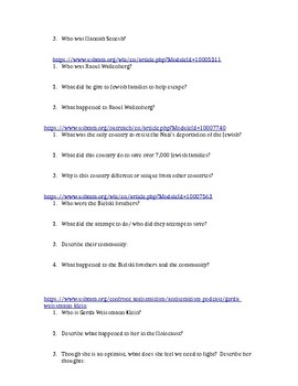 Holocaust Worksheet- Rescue and Resistance