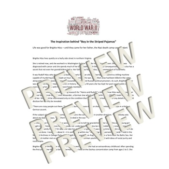 Holocaust/ World War 2 Close Read and Activity