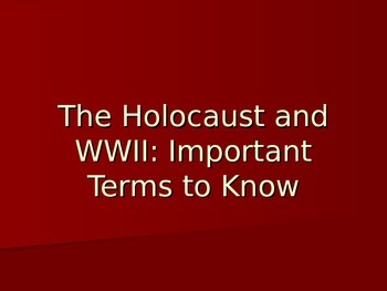 Holocaust and WWII terms to know Power Point - background information