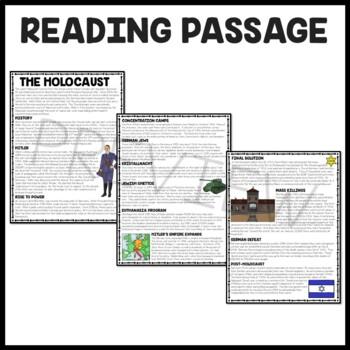 Holocaust overview Reading Comprehension Worksheet, Nazi, Hitler, Jews