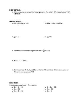 Holt Algebra 1 Chapter 3 Test