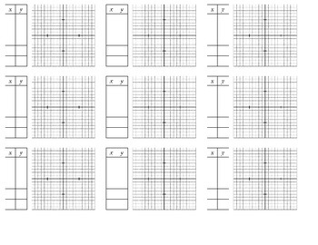 Holt Algebra 1 - Chapter 9 Graphs with Blank Table (set of 9) (DOC & PDF)