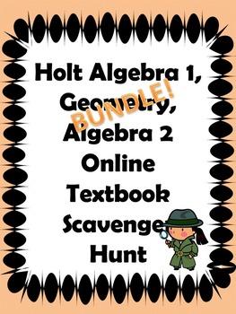 Holt Algebra 1, Geometry, Algebra 2 Online Textbook Scaven
