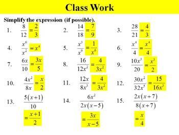 Holt Algebra 10.3A Simplifying Rational Expressions (factored) PPT + Worksheet