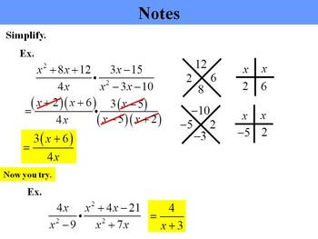 Holt Algebra 10.4A Multiply & Divide Rational Expressions (mult) PPT + Worksheet