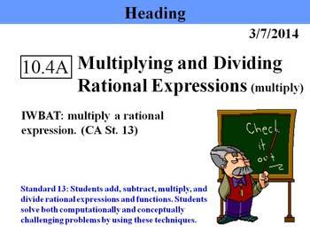 Holt Algebra 10.4A Multiplying and Dividing Rational Expre
