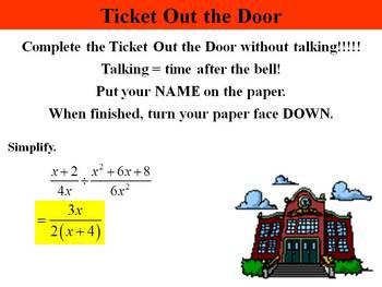 Holt Algebra 10.4B Multiply & Divide Rational Expressions (div) PPT + Worksheet