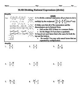 Holt Algebra 10.4B Multiply & Divide Rational Expressions (divide) - DOC & PDF