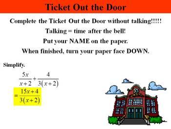 Holt Algebra 10.5B Add & Subtract Rational Expressions (unlike denominators) PPT