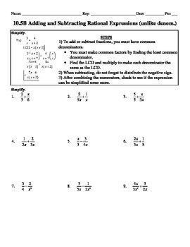 Holt Algebra 10.5B Add & Subtract Rational Expressions (unlike denoms) - DOC&PDF