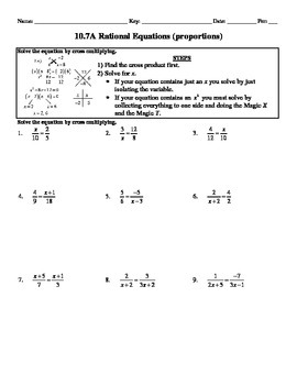 Holt Algebra 10.7A Solving Rational Equations (proportions) - DOC & PDF