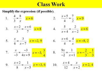 Holt Algebra 10.7A Solving Rational Equations (proportions) PPT
