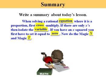 Holt Algebra 10.7A Solving Rational Equations (proportions) - PPT + Worksheet