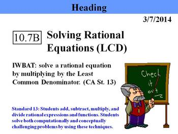 Holt Algebra 10.7B Solving Rational Equations (LCD) - PPT + Worksheet