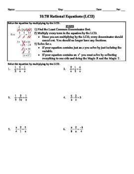 Holt Algebra 10.7B Solving Rational Equations (LCD) Worksheet - DOC ...