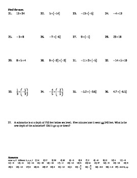 Holt Algebra 1.2A Adding and Subtracting Real Numbers Worksheet (DOC ...