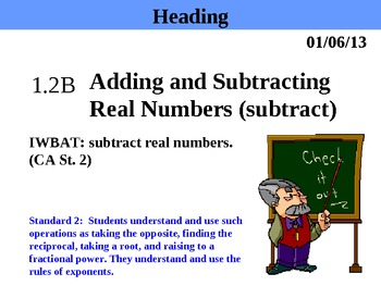 Holt Algebra 1.2B Adding and Subtracting Real Numbers (subtract) PPT