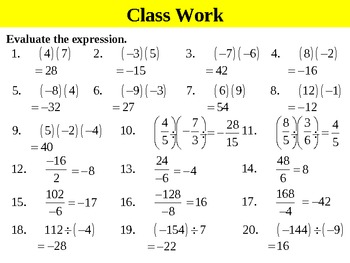 Holt Algebra 1.3 Multiplying and Dividing Real Numbers PPT + ...