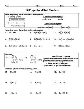 Holt Algebra 1.6 Properties of Real Numbers Worksheet (DOC & PDF)