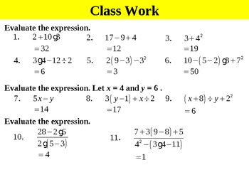 Holt Algebra 1.7A Simplifying Expressions (PEMDAS) PPT + Worksheet Bundle