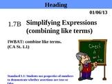 Holt Algebra 1.7B Simplifying Expressions (combining like