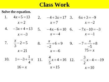 Holt Algebra 2.2A Solving Two-Step Equations (easy fractions) PPT +  Worksheet