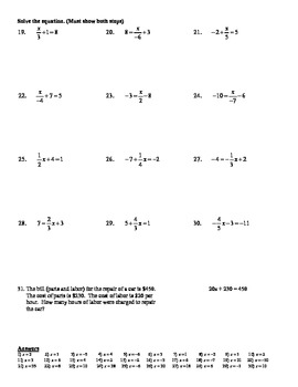 holt algebra 22a solving two step equations easy fractions worksheet doc pdf - Solving Equations With Fractions Worksheet