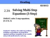 Holt Algebra 2.3A Solving Multi-Step Equations (3-step) PPT