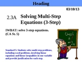 Holt Algebra 2.3A Solving Multi-Step Equations (3-step) PPT + Worksheet