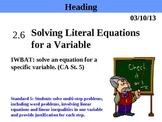 Holt Algebra 2.6 Solving Literal Equations for a Variable PPT