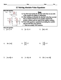 Holt Algebra 2.7 Solving Absolute-Value Equations - Worksheet (DOC & PDF)