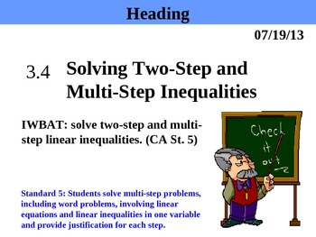 Holt Algebra 3.4 Solving Two-Step and Multi-Step Inequalities PPT