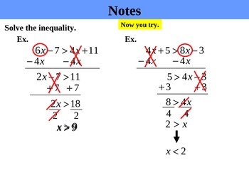 Holt Algebra 3.5 Solving Inequalities with Variables on Both Sides PPT