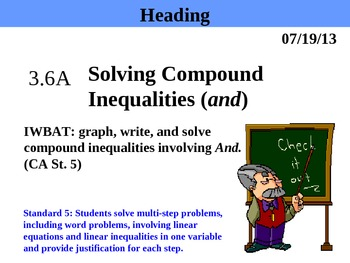 Holt Algebra 3.6A Solving Compound Inequalities (and) PPT