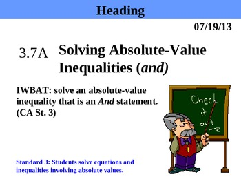 Holt Algebra 3.7A Solving Absolute-Value Inequalities (and) PPT + Worksheet