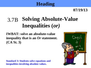 Holt Algebra 3.7B Solving Absolute-Value Inequalities (or) PPT