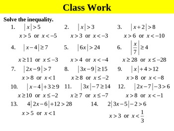 Holt Algebra 3.7B Solving Absolute-Value Inequalities (or) PPT + Worksheet