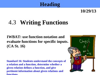 Holt Algebra 4.3 Writing Functions (f(x)) PPT
