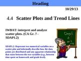 Holt Algebra 4.4 Scatter Plots and Trend Lines (only Scatt