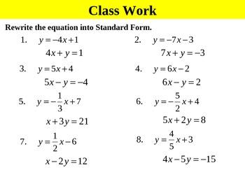 Holt Algebra 4.6 Standard Form (not in book) PPT