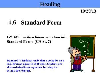 Holt Algebra 4 6 Standard Form Not In Book Ppt Worksheet Tpt