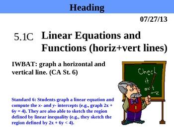 Holt Algebra 5.1C Equations and Functions (horiz + vert li