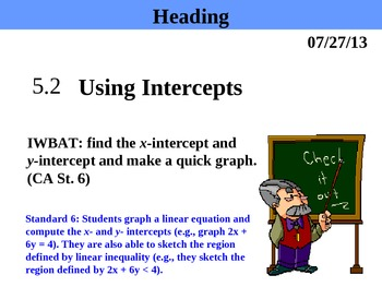 Holt Algebra 5.2 Using Intercepts PPT