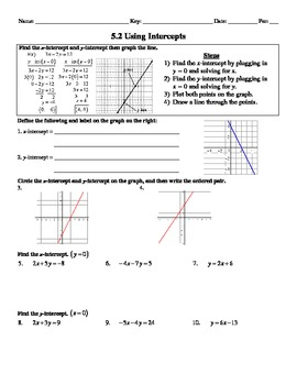 Holt Algebra 5.2 Using Intercepts Worksheet DOC & PDF
