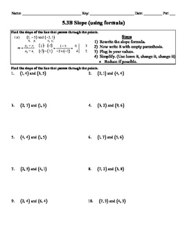 Holt Algebra 5.3B Slope (using formula) Worksheet DOC & PDF